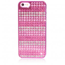 Coque métallique rose avec 238 strass Swarovski Stripes Extravaganza pour iPhone 5 / 5S