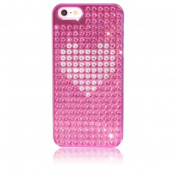 Coque métallique rose avec 238 strass Swarovski Hearts Extravaganza pour iPhone 5 / 5S