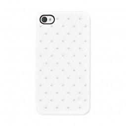 Coque blanche prélude avec strass Swarovski pour iPhone 4 / 4S