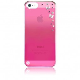 Coque rose Butterflies strass mixtes roses Swarovski pour iPhone 5 / 5S