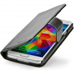 StilGut étui portefeuille Talis en cuir véritable noir nappa pour Samsung Galaxy S5