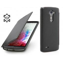 StilGut étui Book Type sans clip en cuir véritable noir pour LG G3