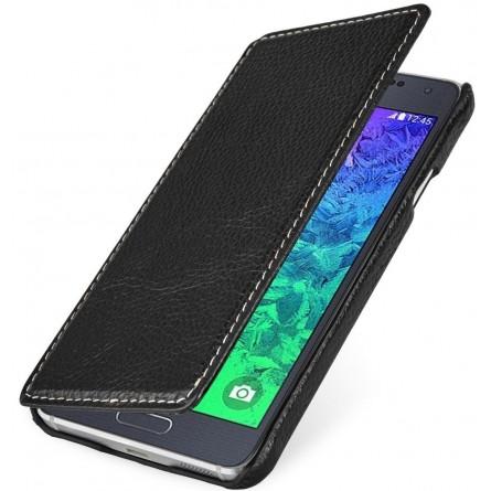 StilGut étui Book Type en cuir véritable noir pour Samsung Galaxy Alpha