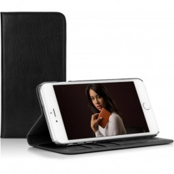 Etui Book Type Caseual en cuir véritable noir pour iPhone 6