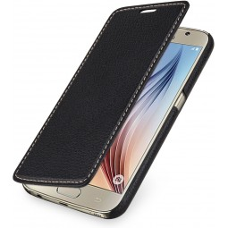 Etui book type UltraSlim pour Samsung Galaxy S6 StilGut en cuir véritable noir