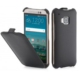 Etui HTC One M9 UltraSlim StilGut en Simili-cuir noir