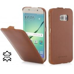 Etui Samsung Galaxy S6 Edge UltraSlim StilGut en cuir véritable Cognac