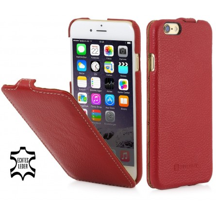 Etui iPhone 6 / 6s UltraSlim en cuir véritable rouge - StilGut