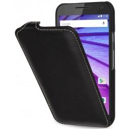 Etui Motorola Moto G (3ème Gén.) UltraSlim en cuir véritable noir - StilGut