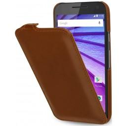 Etui Motorola Moto G (3ème Gén.) UltraSlim en cuir véritable cognac - StilGut