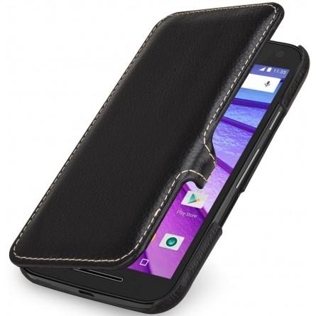 Etui Book Type Motorola Moto G (3ème Gén.) UltraSlim en cuir véritable noir - StilGut