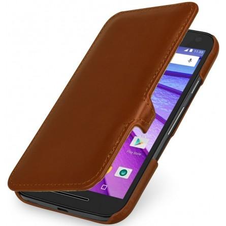 Etui Book Type Motorola Moto G (3ème Gén.) UltraSlim en cuir véritable cognac - StilGut