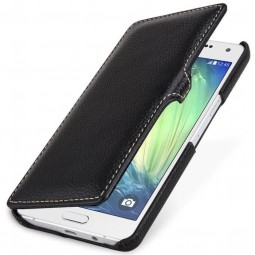 Etui Galaxy A5 (2015) Book Type en cuir véritable noir - StilGut