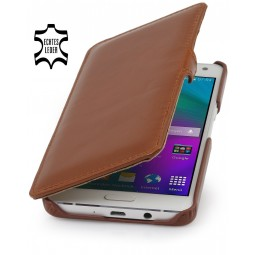 Etui Galaxy A5 Book Type en cuir véritable cognac - StilGut