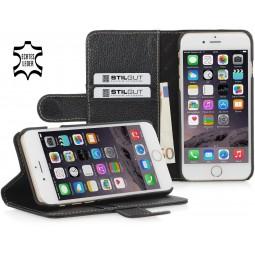 Etui iPhone 6 / 6S portefeuille Talis en cuir véritable noir - StilGut