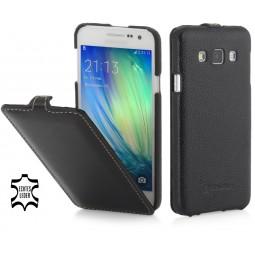 Etui Galaxy A3 (2015) UltraSlim en cuir véritable noir - StilGut