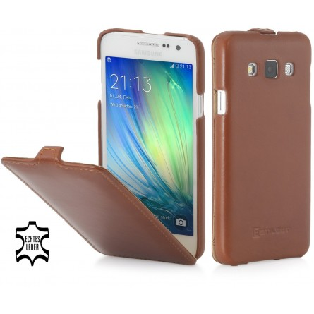 Etui Galaxy A3 (2015) UltraSlim en cuir véritable cognac - StilGut