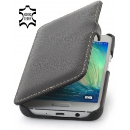 Etui Galaxy A3 (2015) Book Type en cuir véritable noir - StilGut