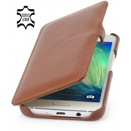 Etui Galaxy A3 (2015) Book Type en cuir véritable cognac - StilGut