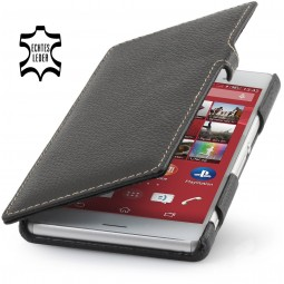 Etui Xperia Z3 Book Type en cuir véritable noir - StilGut