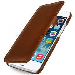 Etui iPhone 6 / 6s Book Type en cuir véritable cognac - StilGut