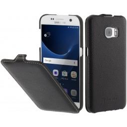 Etui Galaxy S7 UltraSlim en cuir noir - StilGut