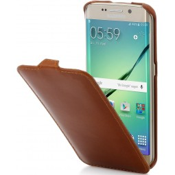 Etui Galaxy S7 Edge UltraSlim en cuir Cognac - StilGut
