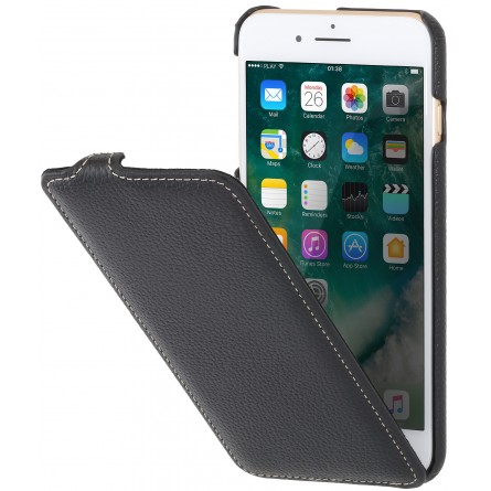 Etui iPhone 8 Plus/7 Plus ultraslim en cuir véritable noir - StilGut