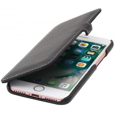 Etui iPhone 8 / iPhone 7 Book Type en cuir véritable noir nappa – StilGut