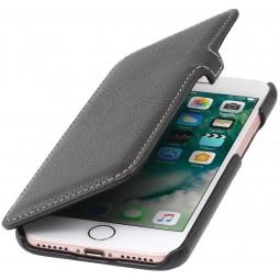Etui iPhone 8 / iPhone 7 Book Type en cuir véritable noir – StilGut