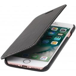 Etui iPhone 8 / iPhone 7 book type noir en cuir véritable sans clip de fermeture - Stilgut