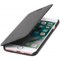 Etui iPhone 8 / iPhone 7 book type noir nappa en cuir véritable sans clip de fermeture - Stilgut