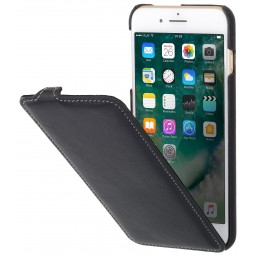 Etui iPhone 8 Plus/7 Plus ultraslim en cuir véritable noir nappa - StilGut