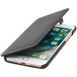 Etui iPhone 8 Plus/7 Plus Book Type en cuir véritable noir - StilGut