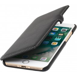 Etui iPhone 8 Plus/7 Plus Book Type en cuir véritable noir nappa - StilGut