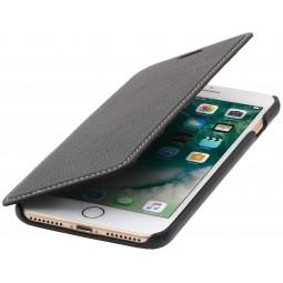 Etui iPhone 8 Plus/7 Plus Book type noir en cuir véritable sans clip de fermeture - Stilgut