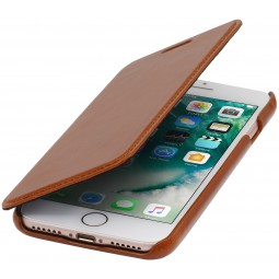 Etui iPhone 8 / iPhone 7 book type cognac en cuir véritable sans clip de fermeture - Stilgut