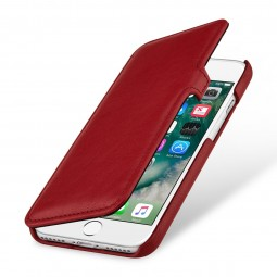 Etui iPhone 8 / iPhone 7 Book Type en cuir véritable Rouge Nappa - StilGut