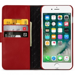 Etui iPhone 8 Plus/7 Plus portefeuille Talis en cuir véritable Rouge Nappa - StilGut