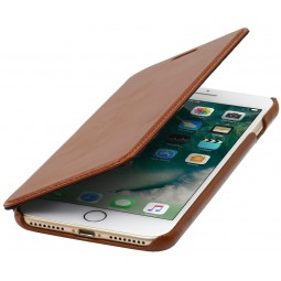 Etui iPhone 8 Plus/7 Plus Book Type sans clip en cuir véritable cognac - StilGut