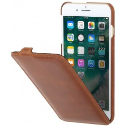 Etui iPhone 8 Plus/7 Plus ultraslim en cuir véritable Cognac - StilGut