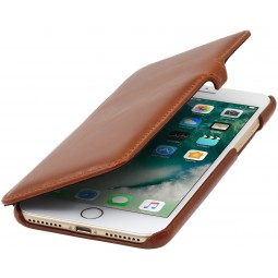 Etui iPhone 8 Plus/7 Plus Book Type en cuir véritable Cognac - StilGut