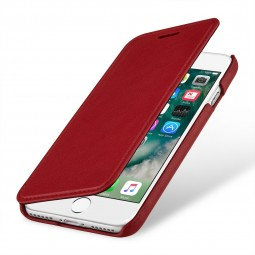 Etui iPhone 8 / iPhone 7 book type rouge nappa en cuir véritable sans clip de fermeture - Stilgut