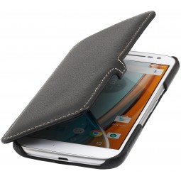 Etui Motorola Moto G4 Book Type avec clip en cuir véritable noir - StilGut