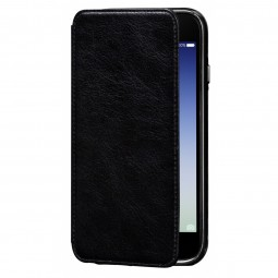 Etui iPhone 8 Plus/7 Plus en cuir véritable Porte cartes noir - Sena Cases
