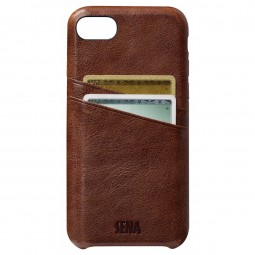 Coque iPhone 8 Plus/7 Plus en cuir véritable Porte cartes marron - Sena Cases