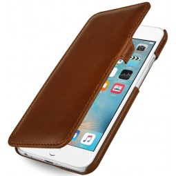 Etui iPhone 6 Plus / 6S Plus Book Type en cuir véritable Cognac - StilGut