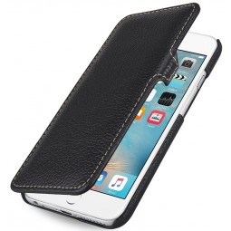 Etui iPhone 6 Plus / 6S Plus Book Type en cuir véritable Grainé Noir - StilGut