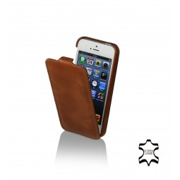 Etui iPhone SE / 5S / 5 ultraslim en cuir véritable cognac - StilGut