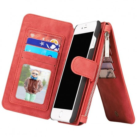 Etui iPhone 8 Plus/7 Plus Porte-cartes et Porte-monnaie Rouge - CaseMe